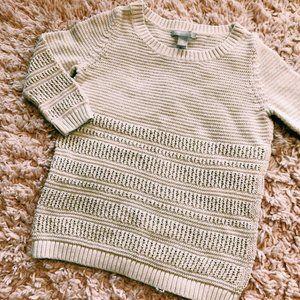 Banana Republic Sweaters - Banana Republic White Cotton & Linen Sweater